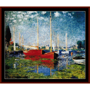 Red Boats at Argenteuil - Monet cross stitch pattern by Cross Stitch Collectibles | Crafting | Cross-Stitch | Wall Hangings