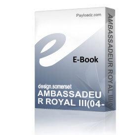 AMBASSADEUR ROYAL III(04-00) Schematics and Parts sheet | eBooks | Technical