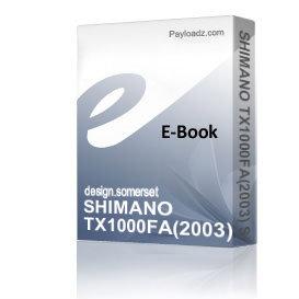 SHIMANO TX1000FA(2003) Schematics + Parts sheet | eBooks | Technical