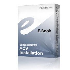 ACV Installation Manual BG 2000-S 25 35 45 55 BG 2000-SV 35 BG 2000-S | eBooks | Technical