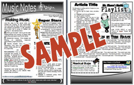 music notes 2 page newsletter