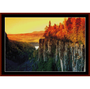 autumn cliffs - nature cross stitch pattern by cross stitch collectibles