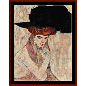 Black Feather Hat - Klimt cross stitch pattern by Cross Stitch Collectibles | Crafting | Cross-Stitch | Wall Hangings