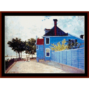 Blue House in Zaandam Monet cross stitch pattern by Cross Stitch Collectibles | Crafting | Cross-Stitch | Wall Hangings