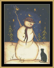 Snowma With Black Cat | Crafting | Cross-Stitch | Other