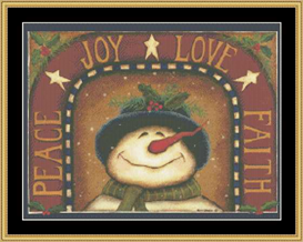 Joy  Love  Faith Snowman | Crafting | Cross-Stitch | Other