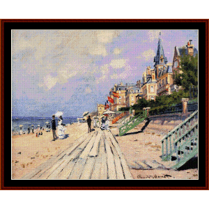 Boardwalk at Trouville - Monet cross stitch pattern by Cross Stitch Collectibles | Crafting | Cross-Stitch | Other