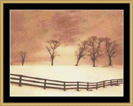 the solitude collection  fence with snowscape