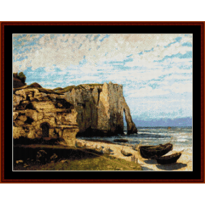 Cliff at Etretat - Courbet cross stitch pattern by Cross Stitch Collectibles | Crafting | Cross-Stitch | Wall Hangings