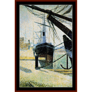 Corner of Harbor of Honfleur - Seurat cross stitch pattern by Cross Stitch Collectibles | Crafting | Cross-Stitch | Wall Hangings
