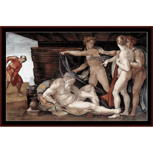 drunkenness of noah - michelangelo cross stitch pattern by cross stitch collectibles