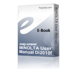MINOLTA User Manual Di2010f Di2510f Di3010f Di3510f.pdf | eBooks | Technical