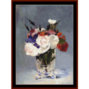 Flowers in Crystal Vase - Manet cross stitch pattern by Cross Stitch Collectibles | Crafting | Cross-Stitch | Wall Hangings