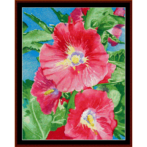 Hollyhocks - Floral cross stitch pattern by Cross Stitch Collectibles | Crafting | Cross-Stitch | Wall Hangings