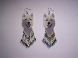 Brick Stitch White Wolf Delica Seed Beading Earring Pattern | Other Files | Arts and Crafts