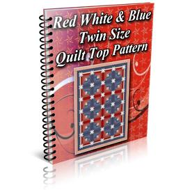 Red White Blue Star Log Cabin Twin Size Quilt Top Pattern | Other Files | Patterns and Templates