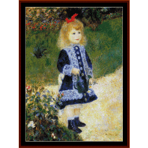 girl with watering can - renoir cross stitch pattern by cross stitch collectibles