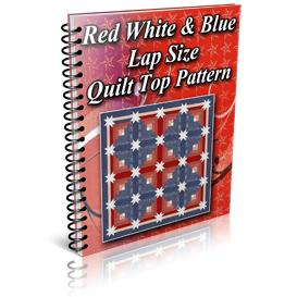 Red White Blue Star Log Cabin Lap Size Quilt Top Pattern | Other Files | Patterns and Templates