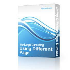Using Different Page Numbering for Different Pages | Software | Training