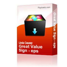 Great Value Sign - eps | Other Files | Clip Art