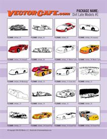 Dirt Late Models Vector Clip Art #1 | Other Files | Clip Art