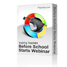 Before School Starts Webinar | Movies and Videos | Educational