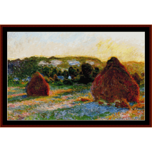 Haystacks End of Summer - Monet cross stitch pattern by Cross Stitch Collectibles | Crafting | Cross-Stitch | Wall Hangings