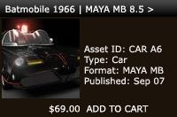 Batmobile 1966 | MAYA MB 8.5 > | Other Files | Patterns and Templates