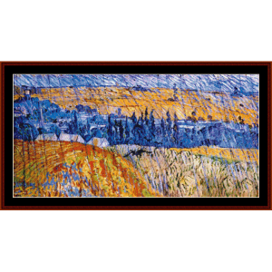 landscape in the rain - van gogh cross stitch pattern by cross stitch collectibles