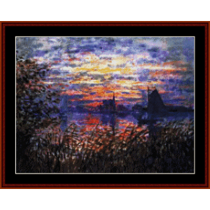 marine view at sunset - monet cross stitch pattern by cross stitch collectibles