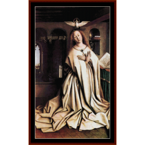 mary of the annunciation - van eyk cross stitch pattern by cross stitch collectibles