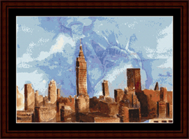 nyc and lady liberty cross stitch pattern by cross stitch collectibles