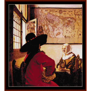 officer and laughing girl - vermeer cross stitch pattern by cross stitch collectibles