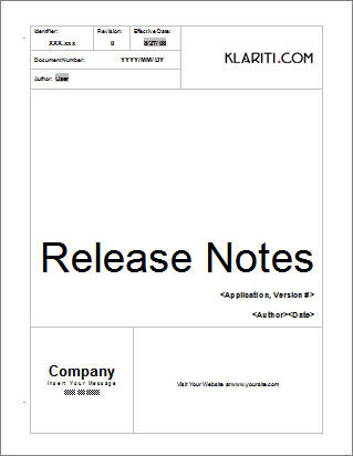 Release Notes Template | Other Files | Documents And Forms