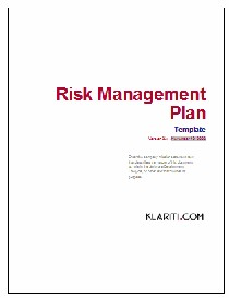 Risk Management Plan | Other Files | Documents and Forms