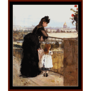 on the balcony - morisot cross stitch pattern by cross stitch collectibles