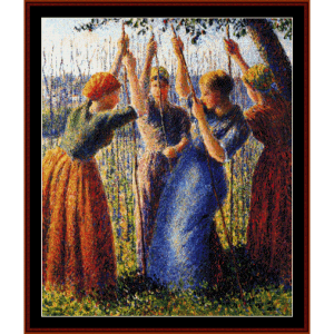Peasant Women Planting Peas - Pissarrocross stitch pattern by Cross Stitch Collectibles | Crafting | Cross-Stitch | Wall Hangings