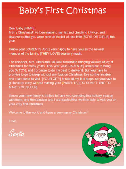 Babys first christmas letter from santa other files documents babys first christmas letter from santa other files documents and forms spiritdancerdesigns