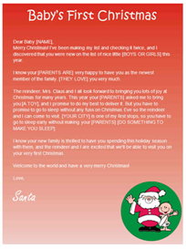 babys first christmas letter from santa
