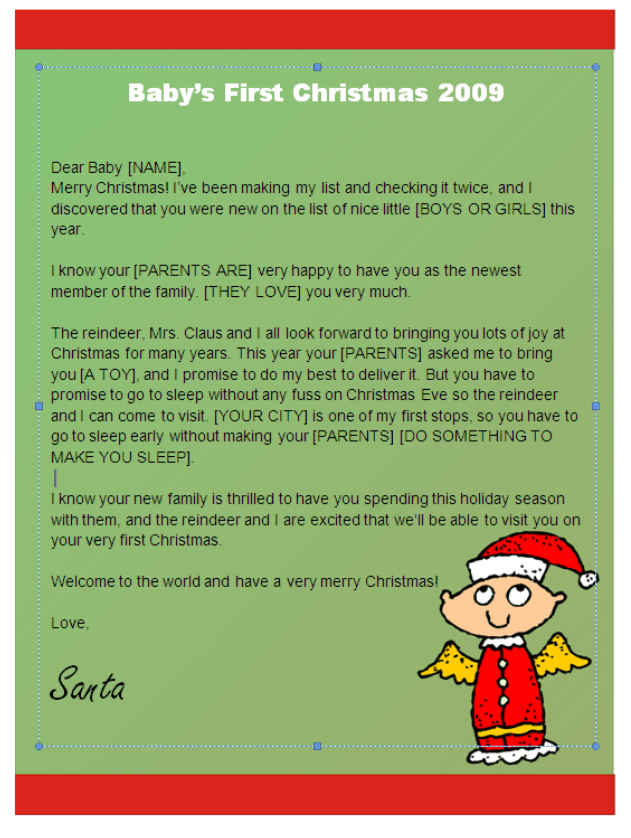 Babys first christmas letter from santa angel design other files babys first christmas letter from santa angel design other files patterns and templates spiritdancerdesigns Image collections