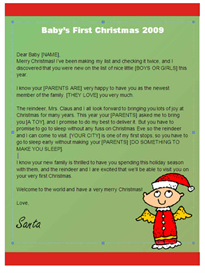 Babys First Christmas Letter from Santa (Angel Design) | Other Files | Patterns and Templates