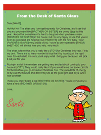 christmas letter from santa - kindergarten (angel design)