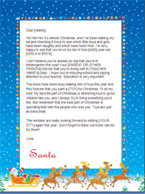 christmas letter from santa - kindergarten (sleigh design)