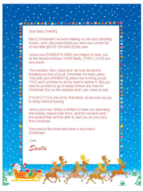 Babys First Christmas Letter from Santa (Sleigh Design) | Other Files | Documents and Forms