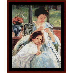 Young Mother Sewing - Cassatt cross stitch pattern by Cross Stitch Collectibles | Crafting | Cross-Stitch | Wall Hangings