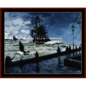 Jetty at Le Havre - Monet cross stitch pattern by Cross Stitch Collectibles | Crafting | Cross-Stitch | Wall Hangings