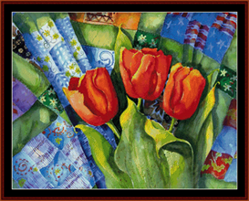 Quilts and Tulips cross stitch pattern by Cross Stitch Collectibles | Crafting | Cross-Stitch | Wall Hangings
