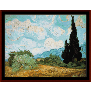 Wheat Field with Cypress - Van Gogh cross stitch pattern by Cross Stitch Collectibles | Crafting | Cross-Stitch | Wall Hangings