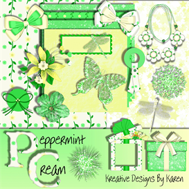 Peppermint Cream Digital scrapbook Kit