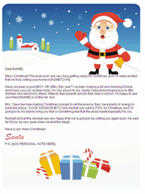 Printable Santa Letter w/Customized P.S. (Gifts Design) | Other Files | Documents and Forms